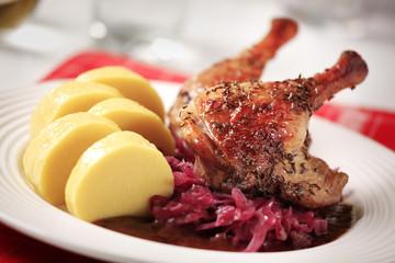 Roast duck, red cabbage and potato dumplings