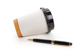 Disposable Coffee Cup and pen