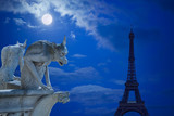 Notre Dame Chimeras and Eiffel tower under the moon of Paris