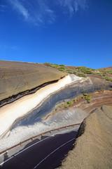 La Tarta, sediment layers outcrop. El Teide volcano.