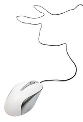 White computer mouse with wire isolated on white background.