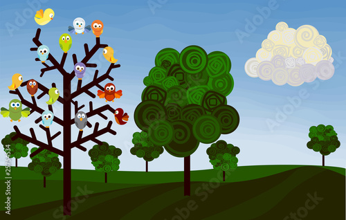 country landscape with birds