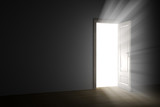 bright light through an open door in empty room.