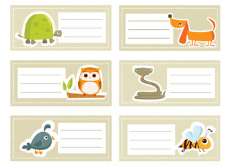 Back to school stickers with cute  animals, vector illustration