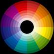 roue chromatique 96 harmonies de couleurs sur fond noir