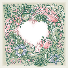 floral background with decorative frame