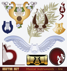 Vector set: Musical Instrument - lyre