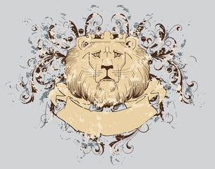 vector t-shirt design with lion (grunge background)