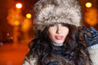 woman in night winter city