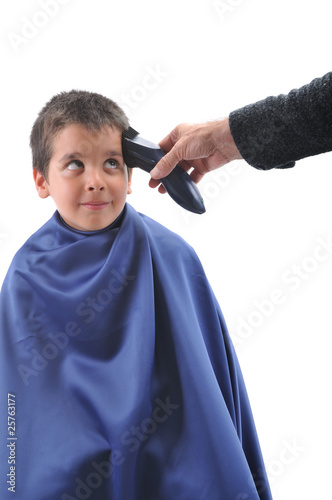 Barber cutting hair with scissor isolated on white background
