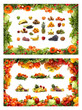 A frame made of tasty and healthy fruits and vegetables