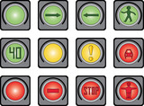 Traffic light for people. Variants.