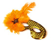 Orange Feather Venetian Mask