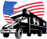 camper van with american flag poster