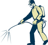 pest control exterminator spraying poster
