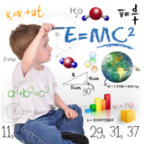 Young Math Science Boy Genius Writing poster