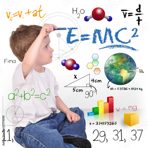 Young Math Science Boy Genius Writing