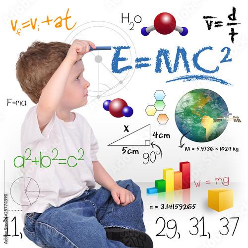Young Math Science Boy Genius Writing