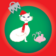Christmas Cat with Toy Mouse