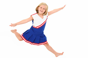 Adorable 7 year Old in Cheerleader Uniform