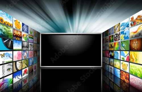 Leinwandbild Motiv Flat Screen Television with Images