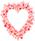 vector lacy heart with floral ornament poster