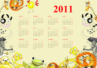 Calendar with animals for 2011