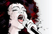 jazz singer on grunge background - 25779115