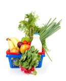 Shopping basket with grocery over white background