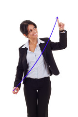 woman drawing a growing graph
