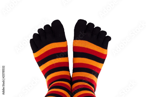 feet wearing colored socks