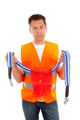 man in safety vest over white background