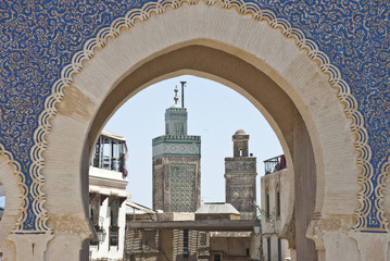 Blue Gate and minarets in Fes (Morocco)