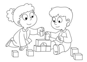 Bambini che giocano con i cubetti. Bianco e nero.