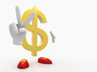 Dollar macht Peace Zeichen