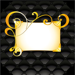 golden pattern in black vintage leather background