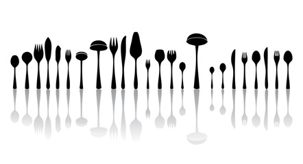 silverware black and white silhouettes