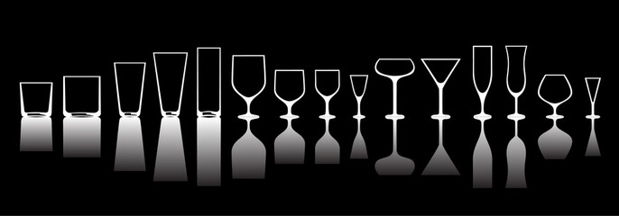 glasses for various alcoholic drinks.inversion of the light