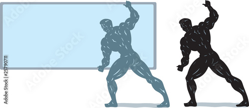 Bodybuilder holding screen.