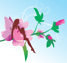 fairy on pink flower sitting