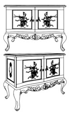 Antique Commode Vector 08