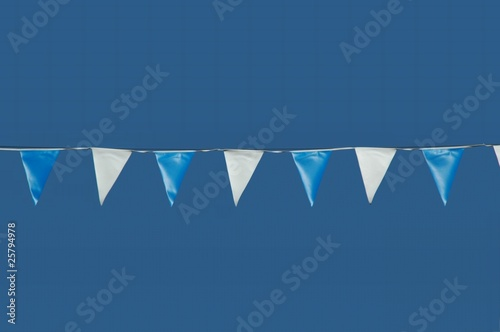 line of blue and white pennants