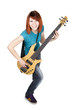 young beauty redhead girl playing bass guitar and smiling, full