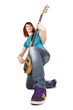 young beauty redhead girl sitting on one knee and playing bass g