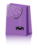 vector Halloween shopping bag with cute spider