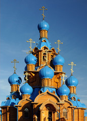 Wooden Church with Blue Domes