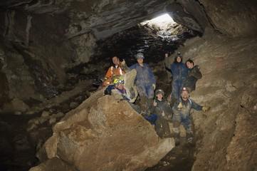 Climbers Cheering In Cave, Cadomin, Alberta, Canada