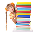 Schoolgirl holding pile of books.  Isolated.