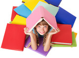 Fototapety Child with pile of books on head. Isolated.