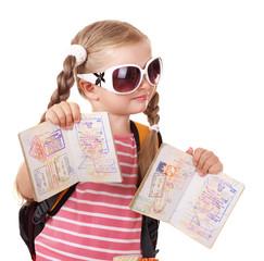 Child holding international passport. Isolated.